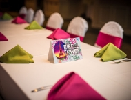 Travel Bat Mitzvah kid seating pink green