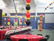 Mitzvah bar sports soccer balloons red black