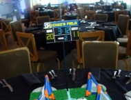 soccer centerpiece with score board