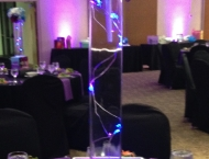 Bat Mitzvah purple blue glow dance flower centerpiece