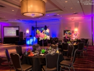 Bat Mitzvah color neon glow balloons centerpiece