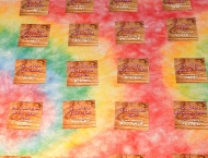 Seating cards Mitzvah camp fire tie dye log cabin