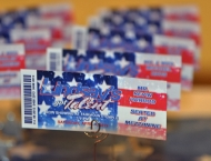 Mitzvah seating cards Got talent ticket stars red white blue