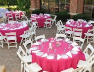 Mitzvah adult tables pink centerpiece