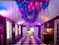 Pink blue mitzvah brother sister color decor