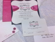 Invitation rhinestone pink ribbon Mitzvah