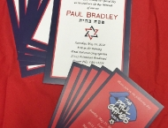 Bar Mitzvah sports red blue invitation