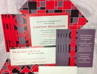 Invitation Bar Mitzvah plaid color red black