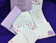 Purple pink polka dot bat mitzvah invitation