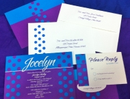 Bat Mitzvah polka dot invitation blue purple