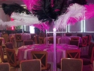 Mitzvah center piece feather night club table names