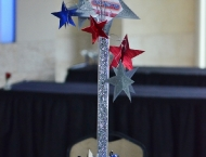 Mitzvah centerpiece Got Talent stars red white blue