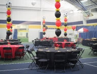 Mitzvah Bar sports balloons centerpiece